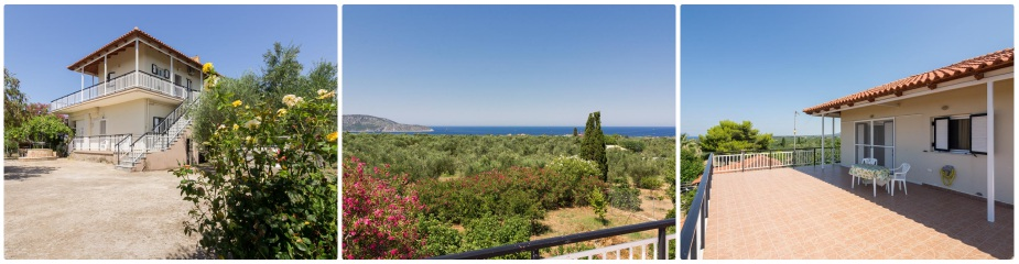 Farm House ref.187: Beautiful sea & island views, peaceful & quiet area, land of 15,710 m² with 300 productive olive trees and lots of fruit trees, 2 storey house of 108 m2 living space, parking area, water well, BBQ, fully fenced property