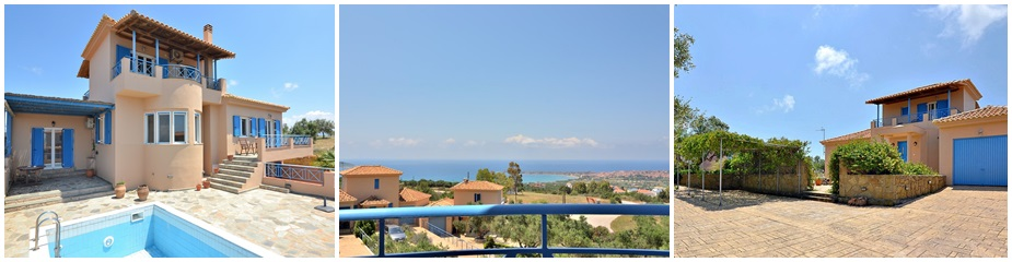 Semi-detached Villa ref.198: Beautiful sea – castle – sunset views, 3 - 5 bedrooms, 3 bathrooms, Living area 161 m² plus storage areas of 43 m², plot 2708 m², swimming pool, paved parking area, outside kitchen, entrance gate, garden, olive trees