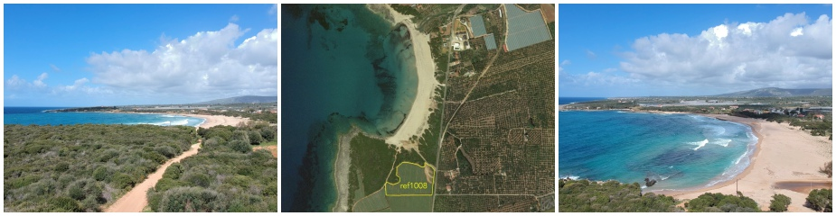 Beachfront Plot of land ref.1008: Access to the amazing sandy beach Lagouvardos via pathway, plot 21,850 m², easy access from asphalt road, close to water & electricity supply, suitable for Commercial or Residential use.