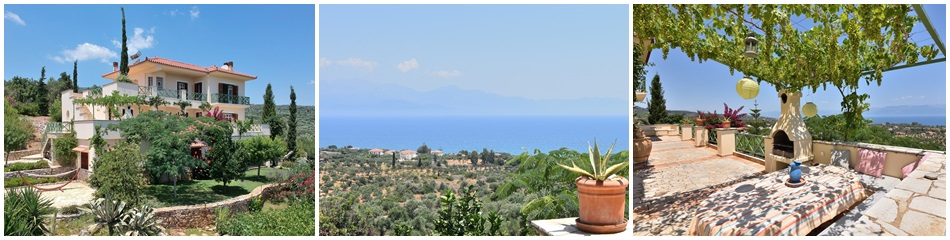 Villa Chrani ref.204: Stunning unobstructed sea and mountain views, 1 km distance to the beach and the village, plot of land 6,800 m², perfectly maintained property, 300 m² in three levels plus 24 m² storage – work shop, 4 spacious bedrooms, 4 bathrooms, large terraces, integral garage, storage areas, garden, carport