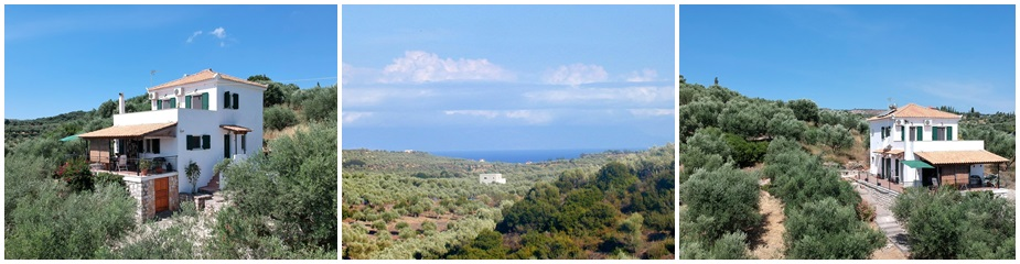 House Mousouli Ref.202: Beautiful sea and mountain views, plot 2311 m², living area of 121 m² plus storage areas of 23 m2, 3 bedrooms, 2 bathrooms, paved yard, garden, 40 productive olive trees, parking area