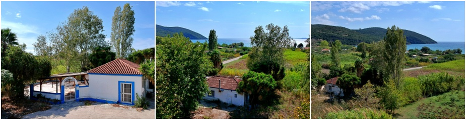 Traditional house in Loutsa ref.262: Perfect for Residential or Commercial use, sea views, plot 4005 m² where it is allowed to build 200 m, living area 60 m², paved yard, garden, parking area, 200 m distance to the sandy beach, easy access