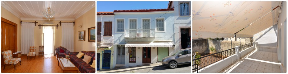 Town House Ref.367: Located Right Next To The Square Of Pylos, Combines Residential & Commercial Use, Living Area 131.70 M2, Shop 115.35 M2 With Guaranteed Income, Spacious Balcony, Garden. The Living Area Needs Renovation